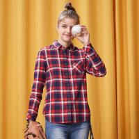 美特斯邦威 冬装新款文艺复古格子衬衫女学生韩版打底商场款