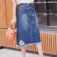 大码半身裙女胖mm2018新款200斤牛仔裙腿粗的女生 显瘦裙子 蓝色