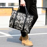 新款韩版男包迷彩手提包商务休闲公文包包单肩斜跨包防水电脑包潮 迷彩色