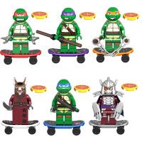 兼容乐高忍者神龟人仔忍者龟带滑板摩托人偶男孩子拼装小积木公仔玩具