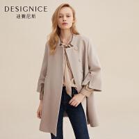 毛呢外套女中长款韩版迪赛尼斯韩版中长款羊毛呢大衣