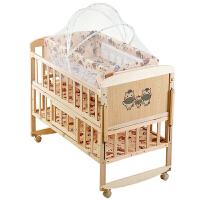 婴儿床实木摇篮床新生儿宝宝折叠床bb床无漆拼接大床多功能带蚊帐 /棕垫/摇篮床/六件套