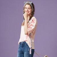 【1件4折叠券约:35.2,12日0点】美特斯邦威短袖T恤时尚纯棉上衣潮流女装可爱打底衫夏秋新款
