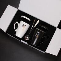 创意可爱陶瓷杯马克杯带盖勺家用牛奶杯咖啡茶杯 情侣杯子一对水杯茶杯