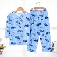 儿童睡衣套装夏季长袖长裤中大童男孩女童宝宝空调家居服 蓝色 (男)蓝色95汽车