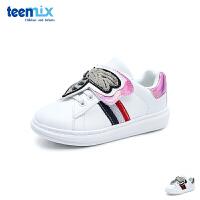 天美意teenmix童鞋18新款小蜜蜂小白鞋儿童运动鞋女童户外休闲鞋中童板鞋 (5-12岁可选) DX0410