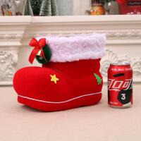 圣诞节礼物圣诞糖果靴罐圣诞创意装饰用品特大号植绒靴 特大号糖果靴