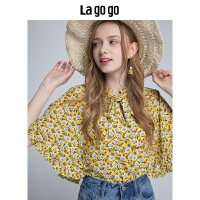 Lagogo/拉谷谷2019年夏季新款时尚小立领碎花短袖衬衫HACC304F25