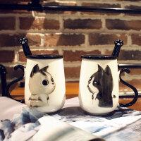 情侣马克杯带盖勺牛奶杯陶瓷杯子大容量水杯可爱办公室瓷水杯一对