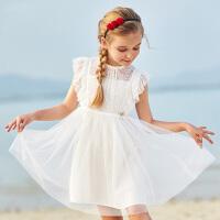 【2折价:73】笛莎童装女童连衣裙夏季新款中大童儿童镂空刺绣网纱公主裙