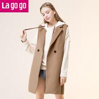 【清仓3折价159.9】Lagogo2019冬季新款直筒纯色马甲女中长款韩版学院风软妹无袖外套