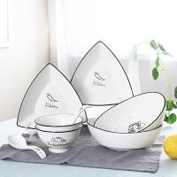 顺祥 陶瓷餐具 米饭碗碟盘子创意厨房碗碟套装礼品 新梦想8头