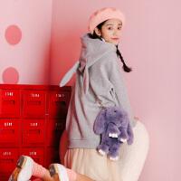 【2件2.5折价84.8元,仅限15-17日】唐狮冬装新款卫衣女可爱兔子款卫衣宽松连帽学生套头外套潮