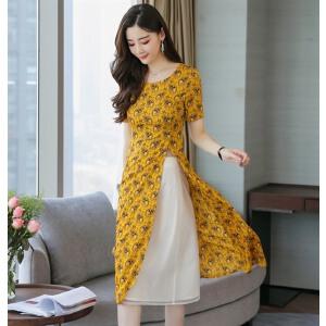 风轩衣度 套装/套裙黄色2018年夏季舒适修身纯色都市青春气质 2365-810