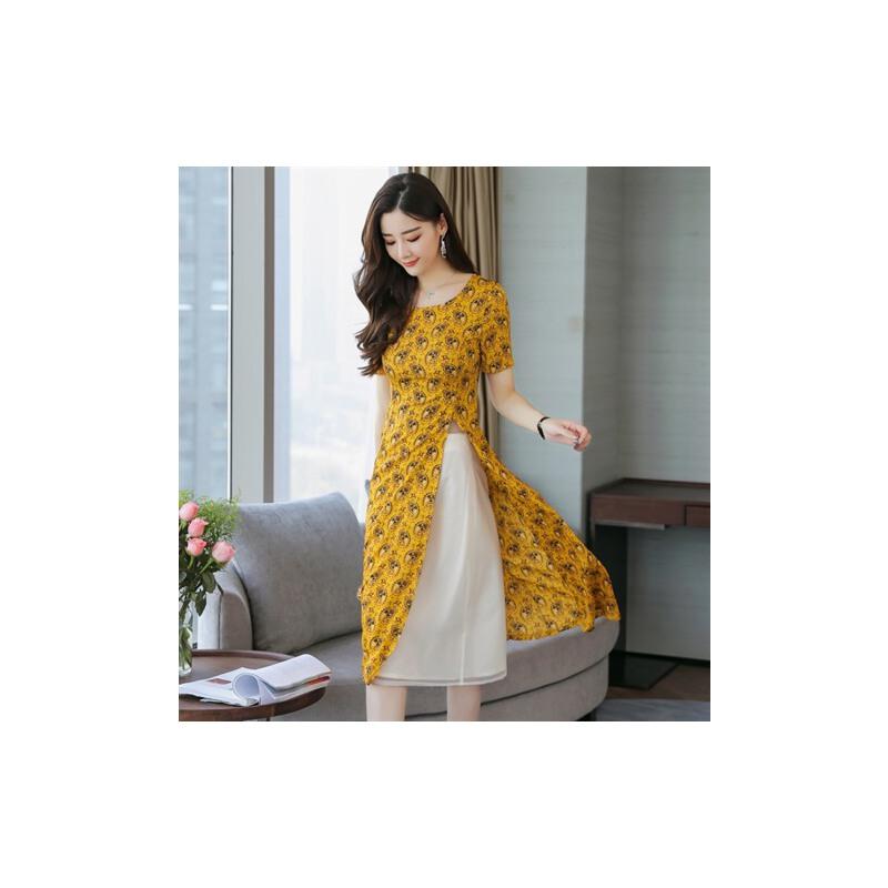 风轩衣度 套装/套裙黄色2018年夏季舒适修身纯色都市青春气质 2365-810全国免邮 7天包退 15天包换