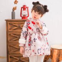 女童旗袍冬装新年唐装加绒1-3-8岁宝宝5中国风旗袍童装洋气连衣裙 粉红色加绒现货
