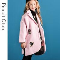 【2件1.5折价:89.7元】铅笔俱乐部童装女童毛呢子外套西装领大童儿童棉外套长款单排扣