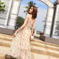 泰国风情潮牌心机吊带连衣裙星星亮片刺仙女长裙度假沙滩裙子女夏