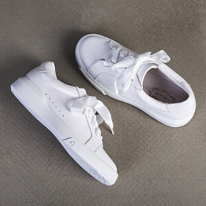 玛菲玛图新款丝带女鞋学院风系带春季单鞋女平底小白鞋女百搭M1981533T3B