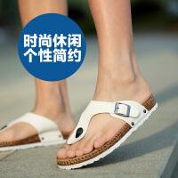 公牛世家 夏季软木拖鞋男士人字拖男潮韩版个性防滑厚底户外沙滩鞋888163