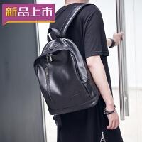 2018新款韩版男士小背包潮包休闲简约复古双肩包中学生书包PU皮旅行包