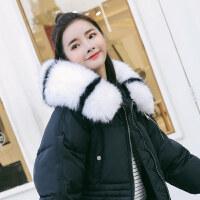 反季加厚羽绒棉衣女冬季外套2018新款韩版宽松中长款棉袄过膝 黑色抽绳棉衣+黑白拼毛领