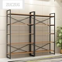 ZUCZUG钢木书架置物架落地现代简约书柜简易组合储物架子货架展示柜家用