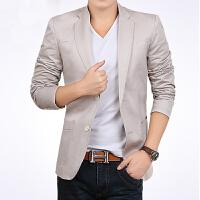 男士休闲西装修身韩版小西服英伦大码男装学生上衣外套潮 白色 米色 4X