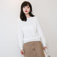 秋冬仿羊绒衫女短款套头毛衣圆领针织羊毛衫纯色宽松上衣韩版打底