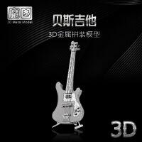 ?3D立体模型拼图金属拼装乐器摆件 贝斯吉他 DIY手工拼图 吉他+送防尘盒+灯光 图片色