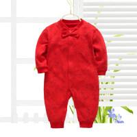 婴儿秋冬装大红色夹棉新生儿连体衣周岁百天礼服男女宝宝满月衣服
