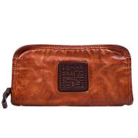 做旧复古钱包男长款拉链软大容量皮大钞夹女青年个性手包潮 棕色 擦色