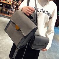 学院风英伦复古双肩包女韩版学生pu皮书包校园多用背包女 灰色 带小包