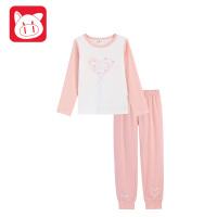 【2件6折】小猪班纳童装女童家居服套装儿童2018秋冬新款女孩睡衣内衣两件套