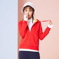 美特斯邦威卫衣开衫女chic2018春装新款连帽运动外套韩版潮流X