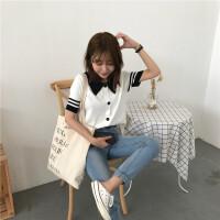 夏装女装韩版小清新修身显瘦条纹短袖翻领针织衫毛衣打底衫上衣潮 均码