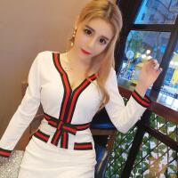 欧美风洋气减龄织带时尚撞色小V领蝴蝶结五分袖修身显瘦连衣裙
