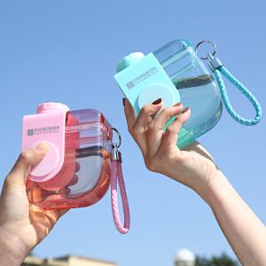 爱屋格林运动水杯子可爱便携防漏拎绳塑料杯随手杯户外学生茶杯