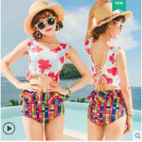 分体平角泳衣女两件套泡温泉沙滩小清新学生小胸聚拢性感显瘦