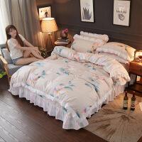 韩式淑女风四件套秋冬磨毛小清新蕾丝床上用品小碎花双人床裙被套
