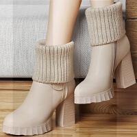 韩版短靴女靴高跟粗跟毛线中筒靴圆头黑色米色保暖针织靴袜靴冬鞋SN5800