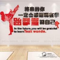 亚克力3d立体墙贴画跆拳道馆墙壁装饰贴纸训练室练武标语励志墙贴 369 红+黑色 超
