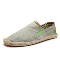 夏季帆布鞋男士休闲鞋一脚蹬懒人鞋男鞋亚麻草编布鞋渔夫鞋