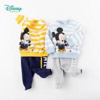 迪士尼Disney童装 男童卫衣套装海军风米奇印花上衣简约穿棉长裤2件套2020春秋儿童衣服