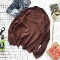 2018冬季新款男士针织衫宽松圆领套头毛衣外套男韩版学生羊毛线衣 深棕色 破洞毛衣棕