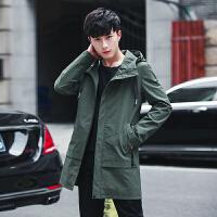 男士风衣2018新款 帅气春装中长款潮流韩版修身薄款学生中款外套
