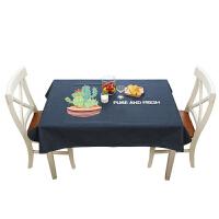植物桌布布艺棉麻小清新原创田园仙人掌茶几垫定做长方形桌垫