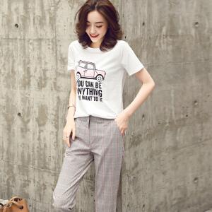 夏新款短袖印花T恤+格子小脚裤两件套时尚套装女韩版