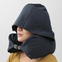 ???U型环形枕护颈枕连帽飞机旅行枕头颈椎脖子午休枕带帽子 藏青色 藏青色-连帽