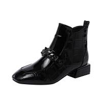 欧美2018秋季新款方头漆皮粗跟短靴女真皮黑色中跟马丁靴及踝靴潮